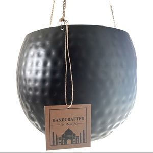 Large metal hanging planter from India